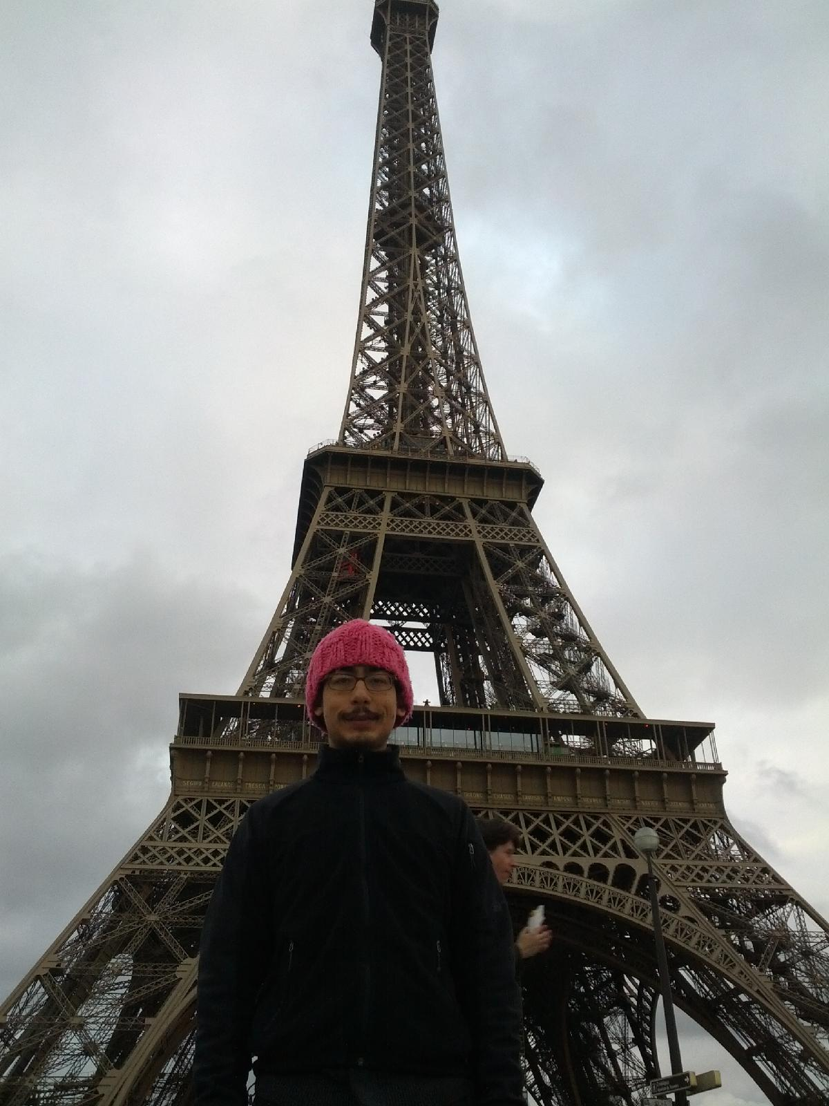 Tom in front of the Eiffel Tower